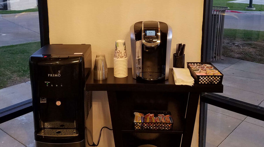 Complimentary coffee at Marvel Dental